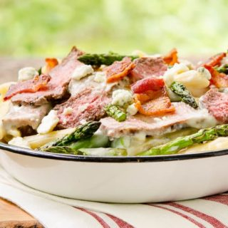 Creamy Blue Cheese Pasta with Steak and Bacon for #SundaySupper