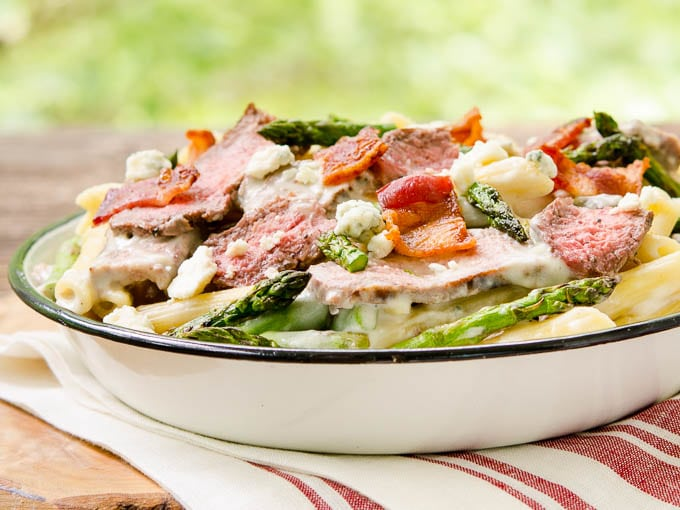 Creamy Blue Cheese Pasta with Steak and Bacon by Magnolia Days