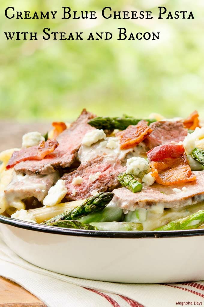 Creamy Blue Cheese Pasta with Steak and Bacon is a scrumptious hearty meal. It's comfort food and something special to satisfy many cravings at once.