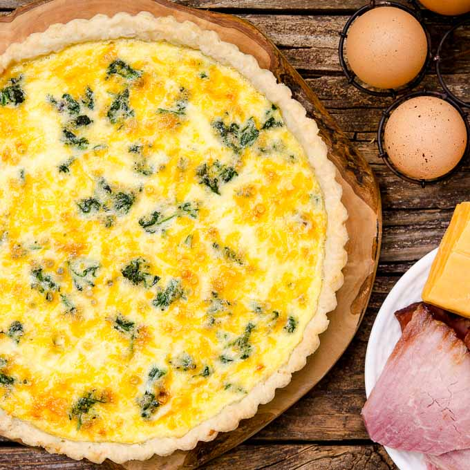 Ham and Cheese Quiche with Spinach by Magnolia Days