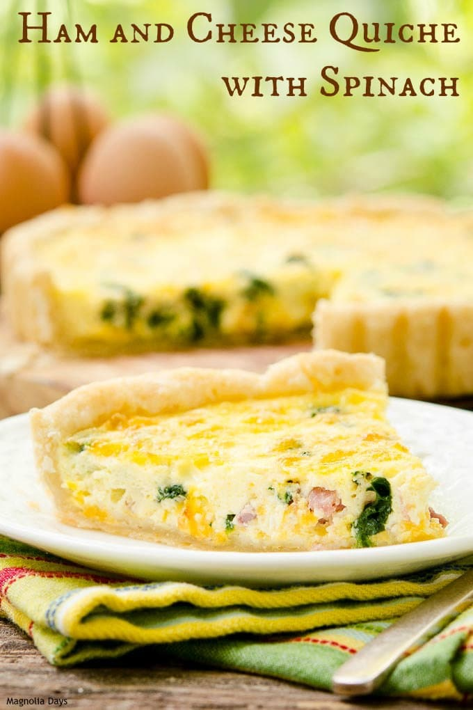 Ham and Cheese Quiche with Spinach has a buttery and flaky homemade crust. It is fantastic for brunch or as light meal with a simple green salad.