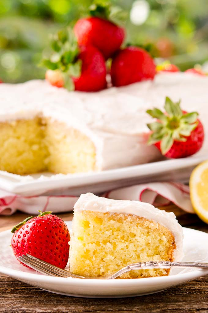 Strawberry-Lemon Cake with Strawberry Cream Cheese Frosting is a super moist and delightful dessert.
