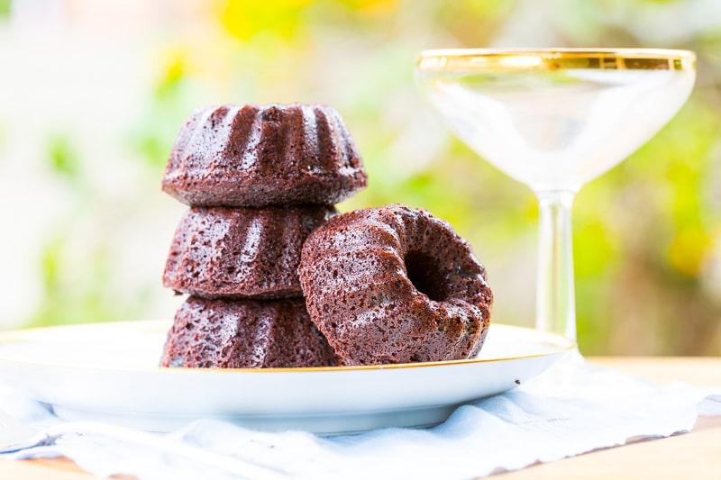 Champagne Chocolate Mini Bundt Cakes