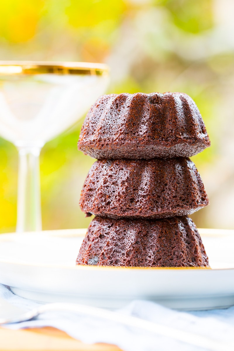 Champagne Chocolate Mini Bundt Cakes