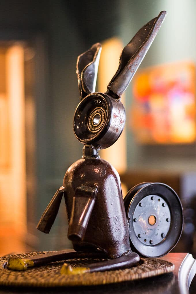 Metal rabbit statue