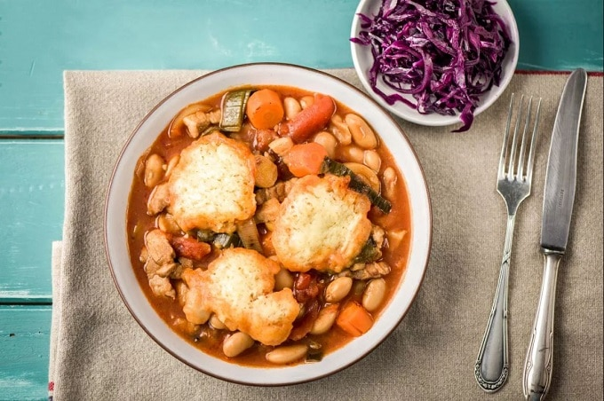 Pork Belly Casserole with red cabbage and dumplings