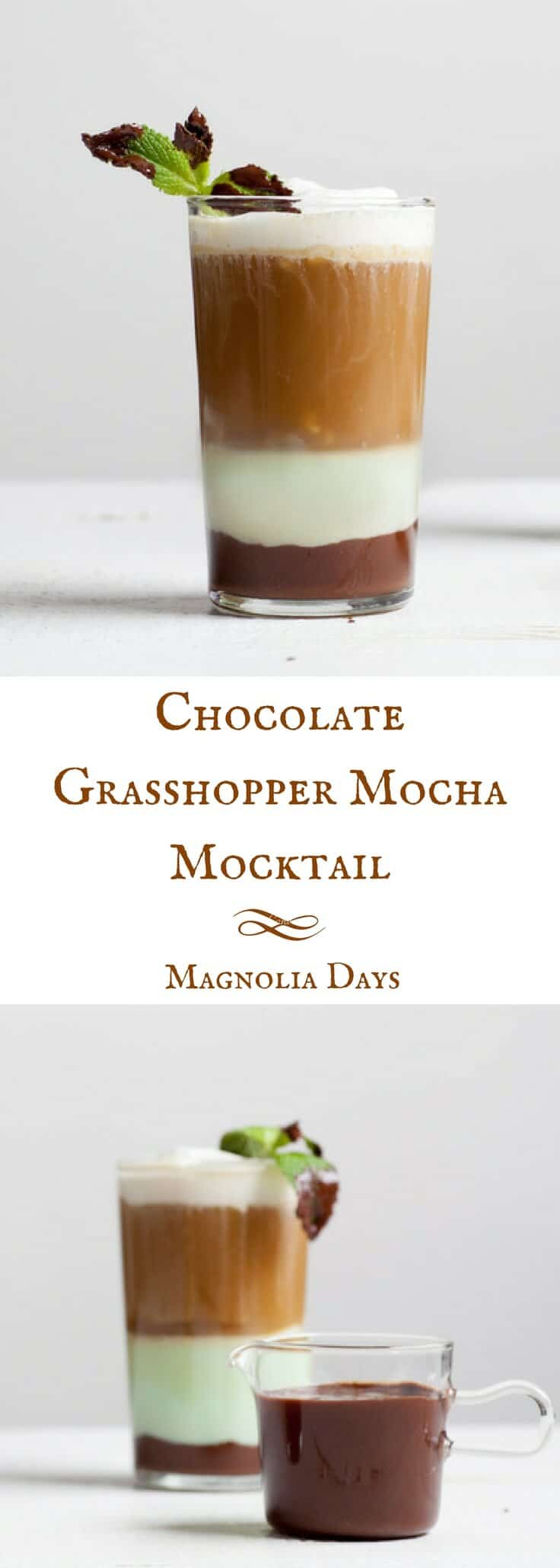 A chocolate and coffee flavored mocktail version of the classic grasshopper cocktail drink, which originated in the French Quarter of New Orleans, Louisiana.