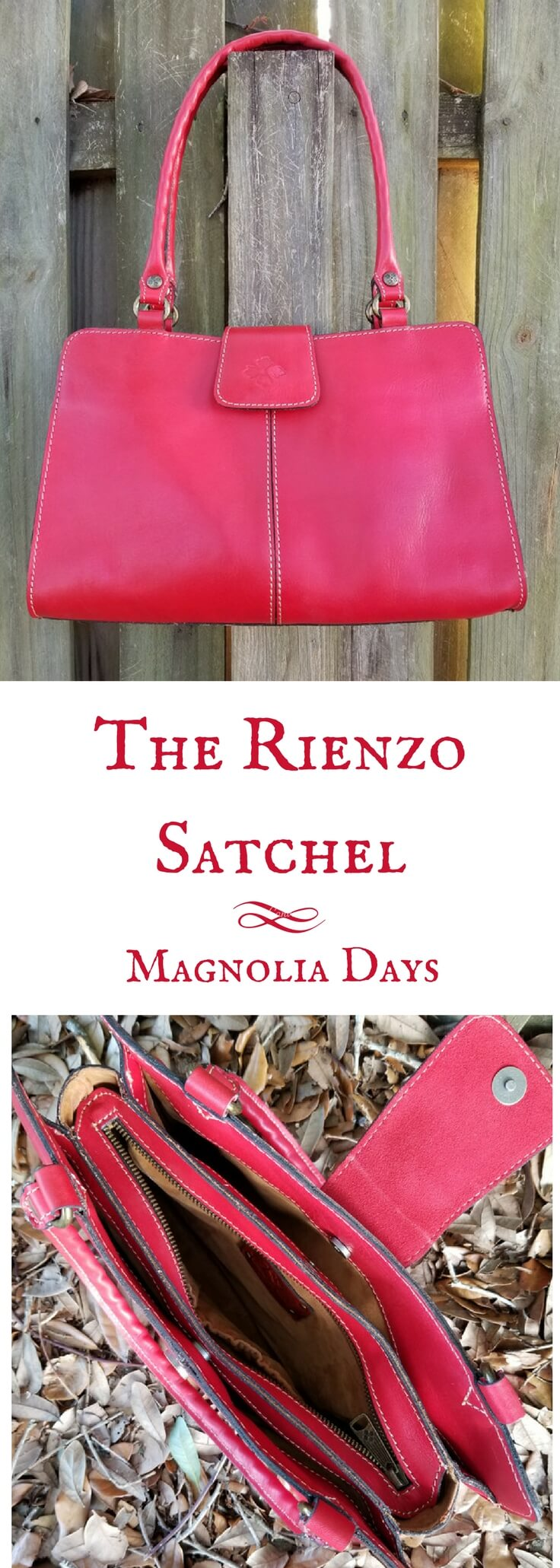 Made from Italian leather, the Rienzo satchel by Patricia Nash Designs comes in a variety of colors. Get an up close look at my Rienzo satchel, inside and out, in this handbag review.