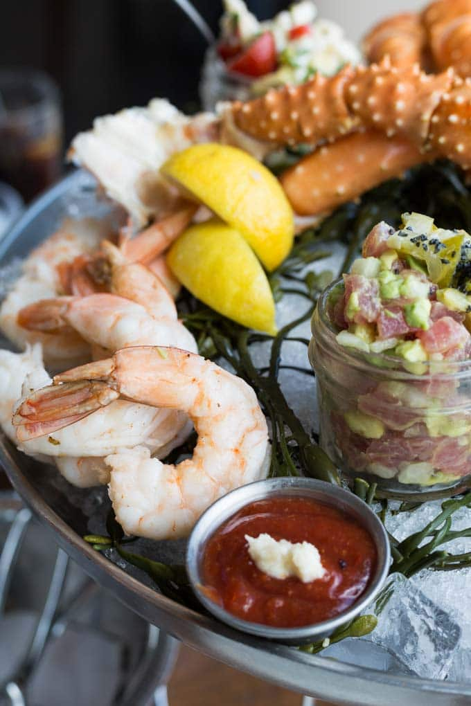 Jumbo shrimp cocktail on a cold seafood platter