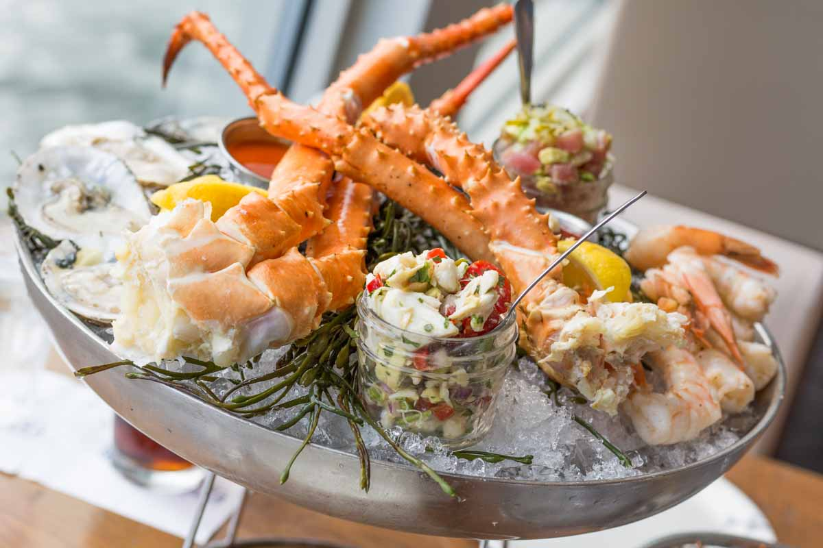 Paddlefish seafood tower in a metal bowl