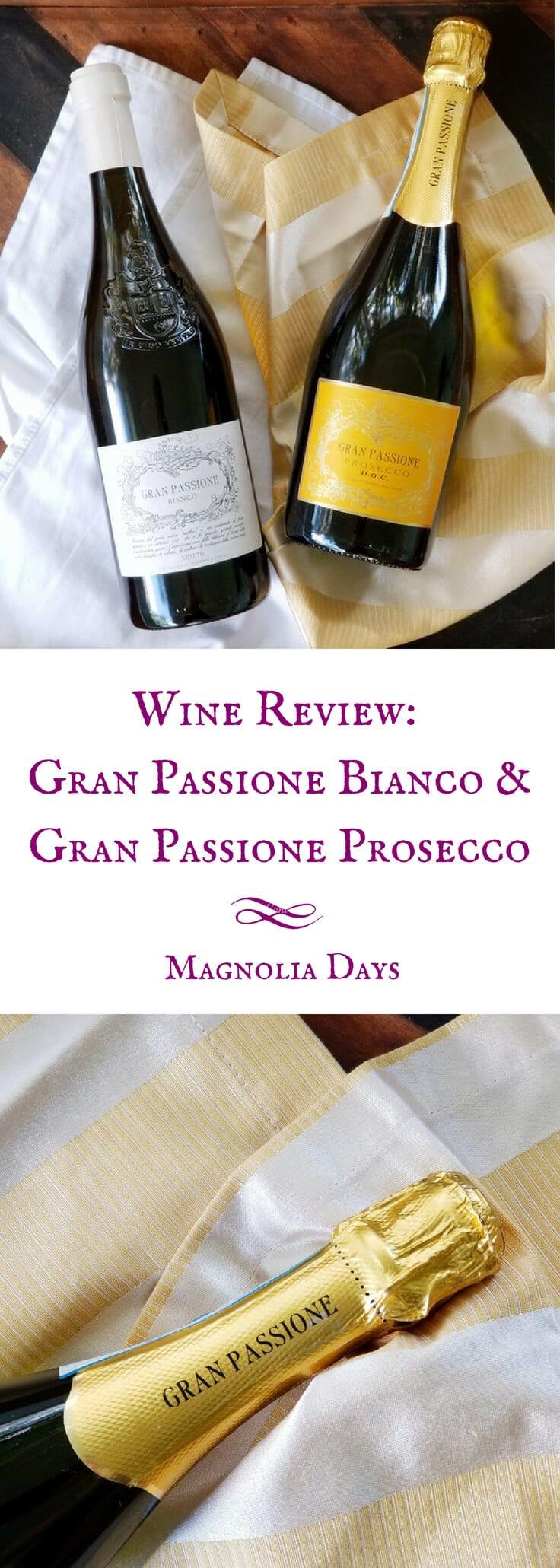 A review of Gran Passione Bianco (a white wine blend) and Gran Passione Prosecco DOC Spumante. Both wines originate from Veneto region of Italy.