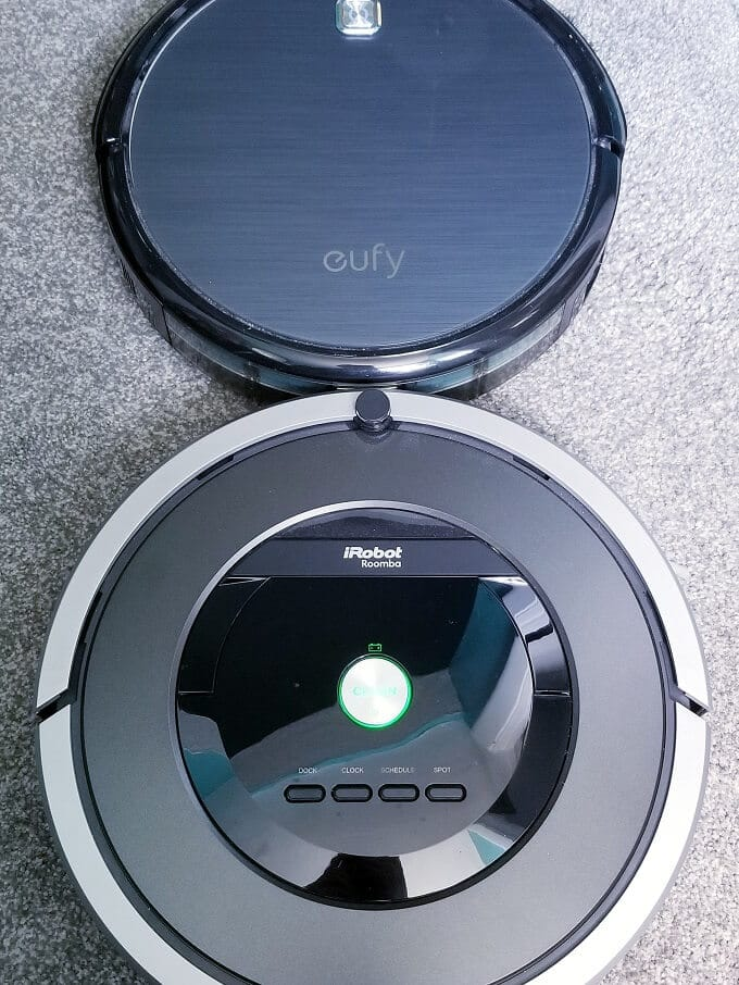 Eufy Robovac 11 and Roomba 801 on carpet