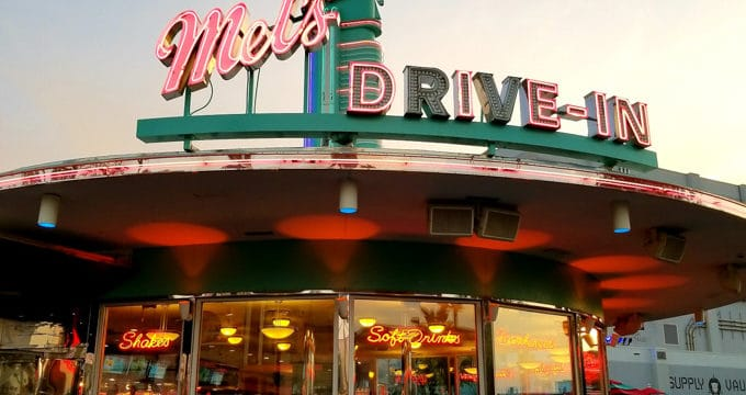Exterior of Mel's Drive-In at Universal Studios Halloween Horror Nights