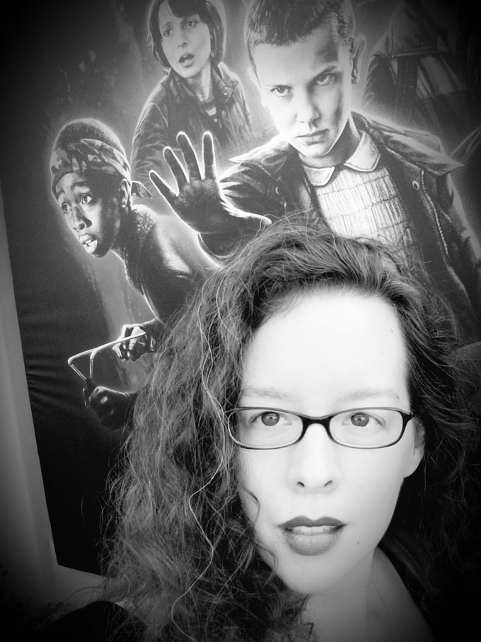 Selfie in front of Stranger Things poster at Halloween Horror Nights