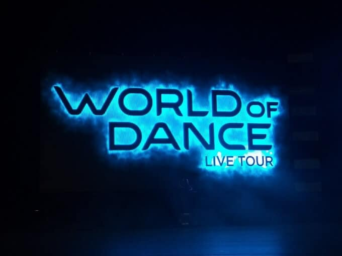 World of Dance tour screen, as seen on stage