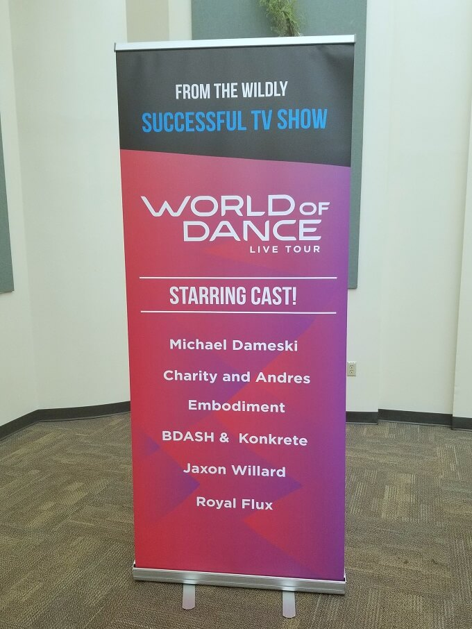 Sign for the VIP meet and greet at World of Dance Tour