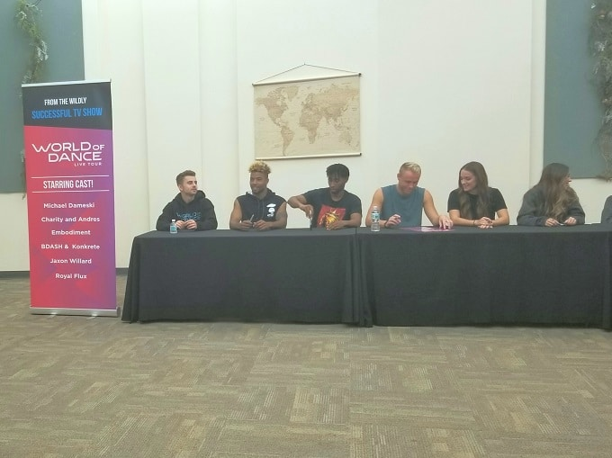 World of Dance Tour cast meet and greet at a table