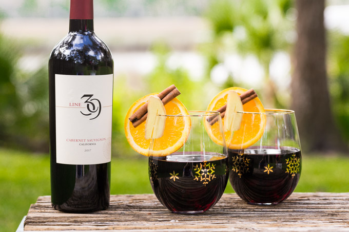 Easy mulled wine recipe with cabernet sauvignon bottle