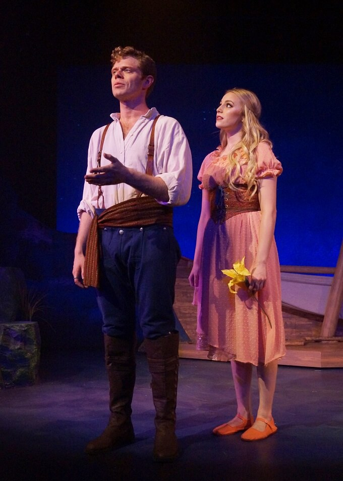 Photo by Megan Pridemore features James Putnam and Jillian Gizzi in Orlando Shakes' production of The Little Mermaid by Brandon Roberts.