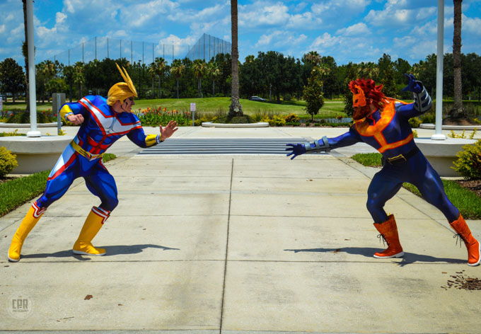Two male cosplayers face off at Megacon Orlando