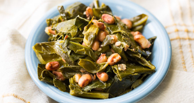 Hoppin John collard greens and black eyed peas in a blue dish