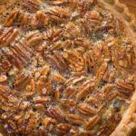 Closeup of pecan pie and crust