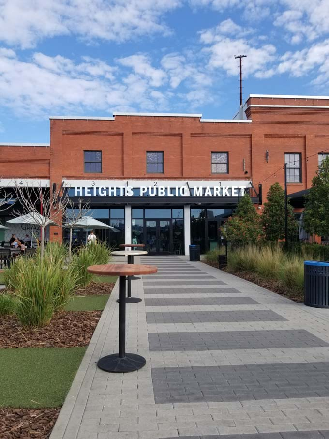 Exterior of Heights Public Market in Tampa with blue sky