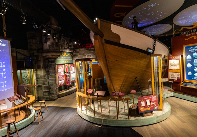 Tampa Bay History Center interior with pirate ship, one of the best tampa attractions for families