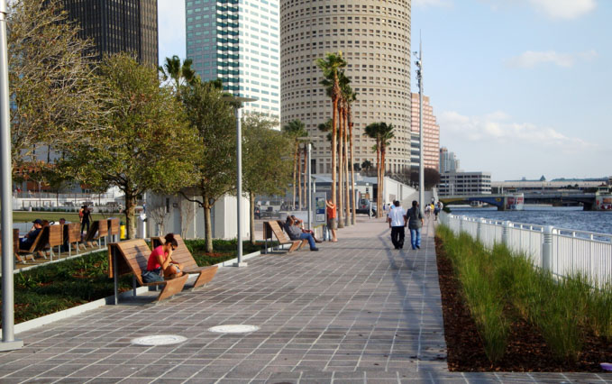 Tampa Riverwalk path next to river in downtown Tampa