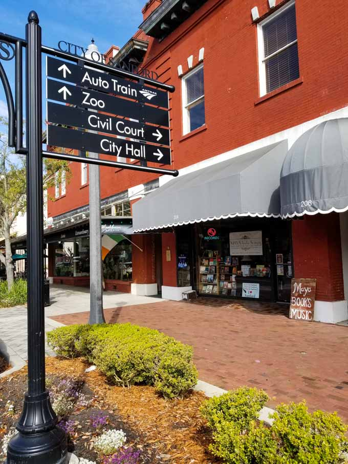 Exterior of Maya Books and Music in downtown Sanford