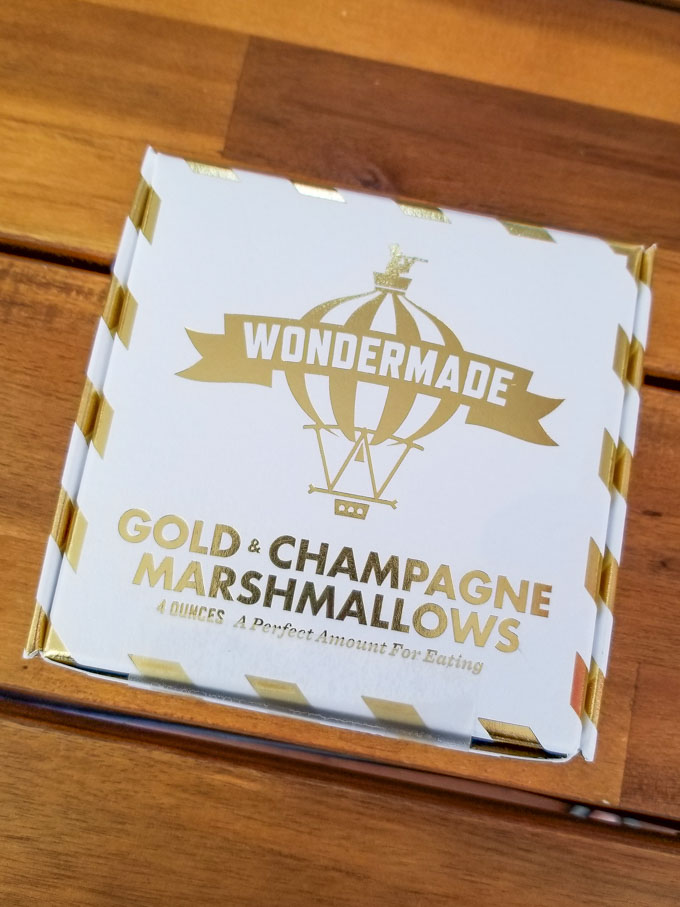 Box of gold and champagne marshmallows from Wondermade