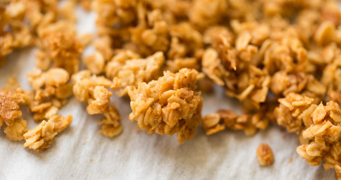 Closeup of crunchy granola