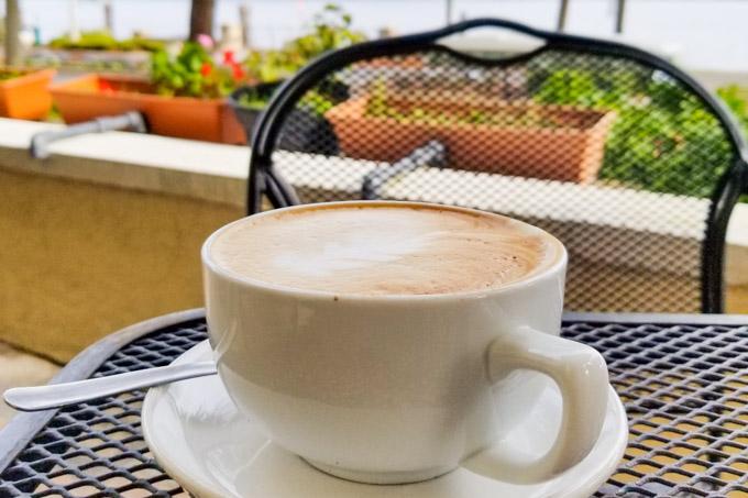 Cappuccino on terrace facing Lake Monroe in Sanford, FL