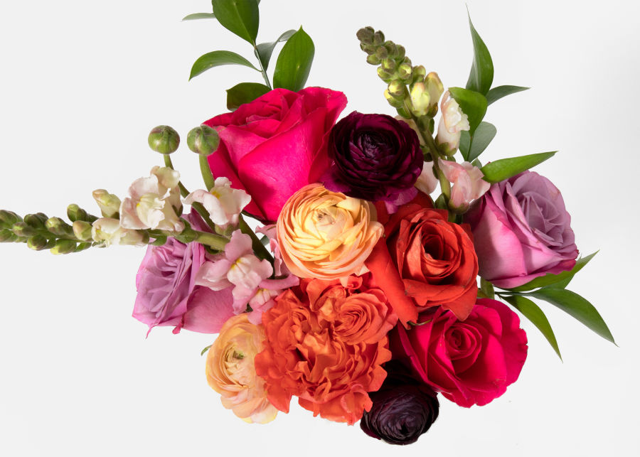 Overhead view of Carnivale UrbanStems flower bouquet as pictured on website