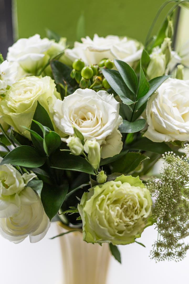 White and green rose bouquet from UrbanStems